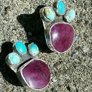 Vintage Turquoise, sugalite bear claw earrings